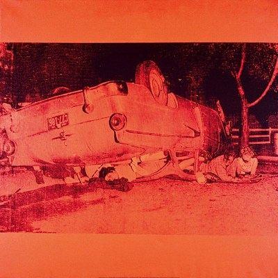 5 morts sur fond orange, par Andy Warhol