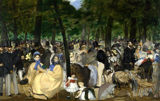 La musique aux Tuileries, par Édouard Manet