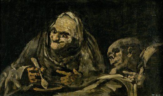 Deux vieillard mangeant de la soupe, par Francisco Goya