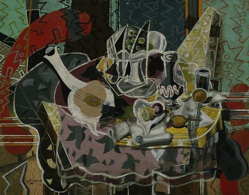 Nature morte aux fruits et aux instruments à cordes, par Georges Braque