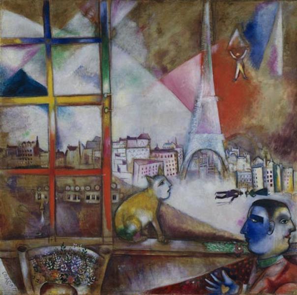 Tableaux de marc chagall for Par la fenetre ouverte bonjour