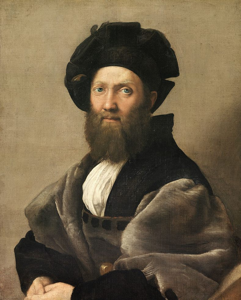 the portrait of baldassare castiglione raphael's Raphael's finest work in the genre is perhaps the portrait of baldassare castiglione (1516), a brilliant and arresting character study leo x commissioned raphael to design 10 large tapestries to hang on the walls of the sistine chapel .
