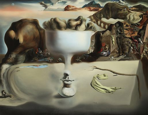 Apparition d'un visage et d'un compotier sur une plage, par Salvador Dali