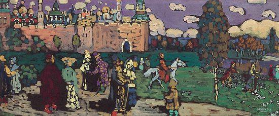 Scène russe - Dimanche, par Wassily Kandinsky