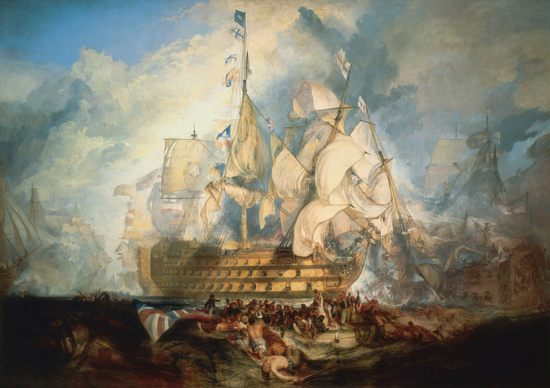 La bataille de Trafalgar, par William Turner